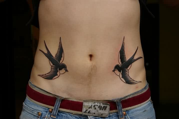 Classic Swallows Tattoos On Stomach