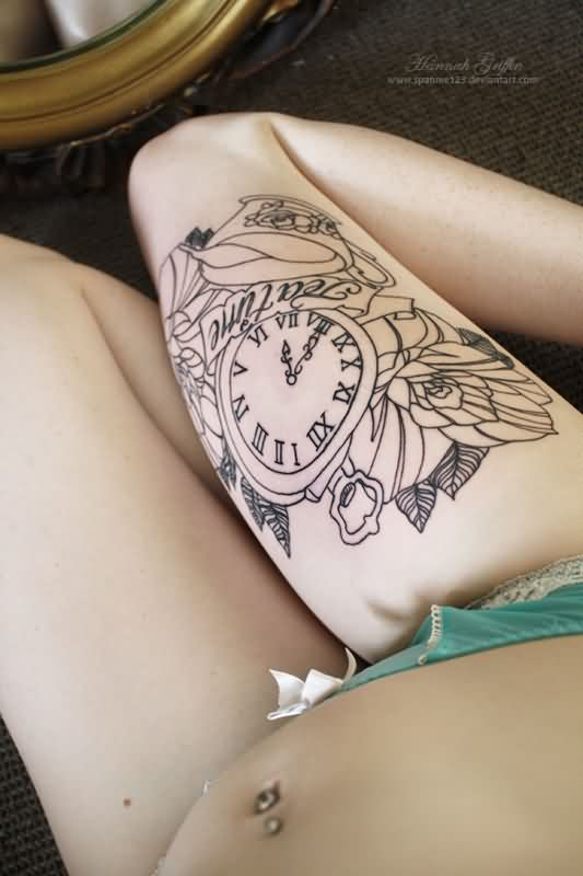 Clock And Flowers Outline Thigh Tattoos
