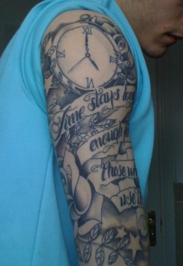 Clock Banner And Rose Half Sleeve Tattoos