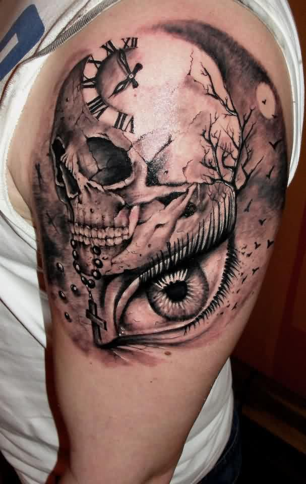 Clock Skull And Eye Tattoos On Shoulder