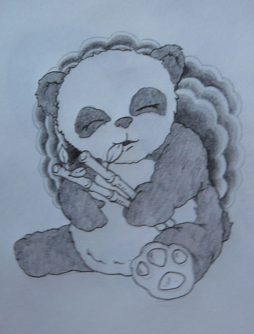 Clouds And Baby Panda Tattoo Sketch
