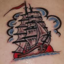 Clouds And Pirate Ship Tattoos