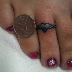 Coin And Heart Toe Ring Tattoo