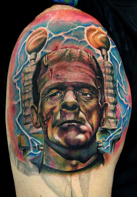 Color Frankenstein's Monster Tattoo For Shoulder