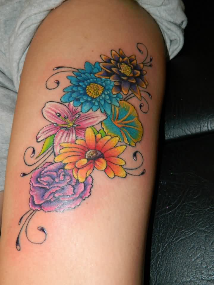 Color Ink Flower Tattoos On Thigh