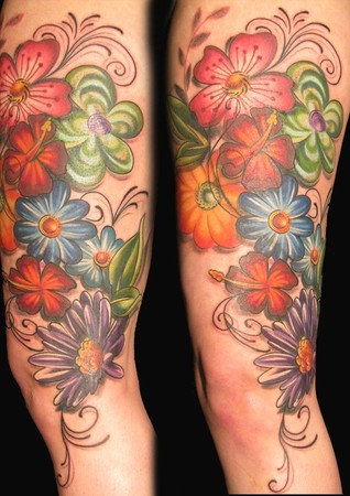 Color Ink Flowers Thigh Tattoos