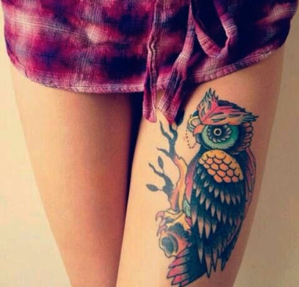 Color Ink Owl Thigh Tattoo For Girls