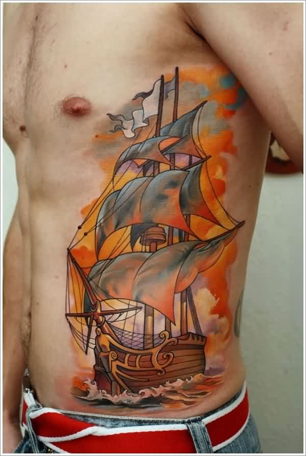 Color Ink Ship Tattoo On Side Of Stomach