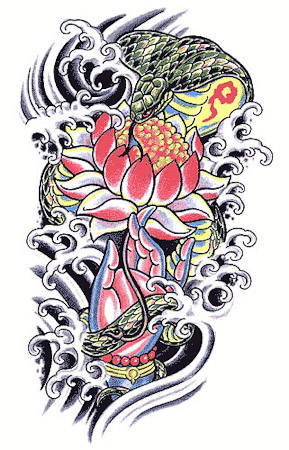 Color Japanese Snake Cobra Buddha Lotus Water Tattoo Design