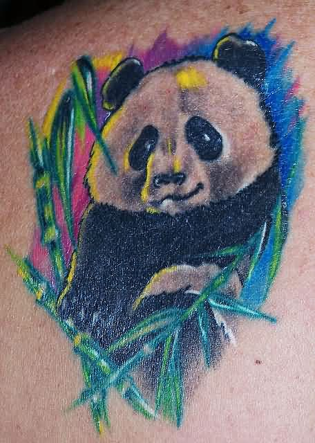 Color Shade Innocent Panda Bear Tattoo