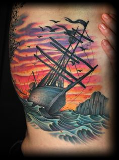 Colored Sinking Ship Tattoo