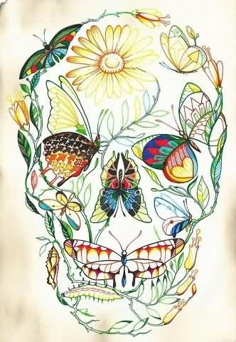 Colorful Nature Skull Tattoo Print
