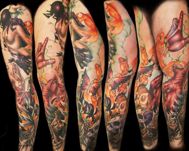 Colorful Nature Sleeve Tattoos