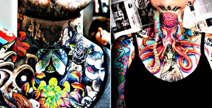 Colorful Neck Tattoo Pics