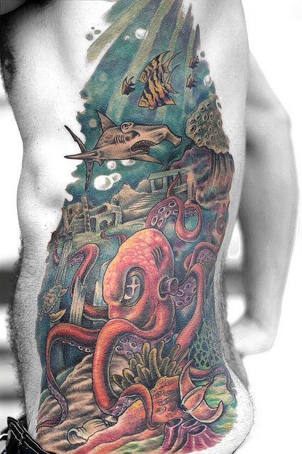 Colorful Ocean Tattoo On Full Ribs