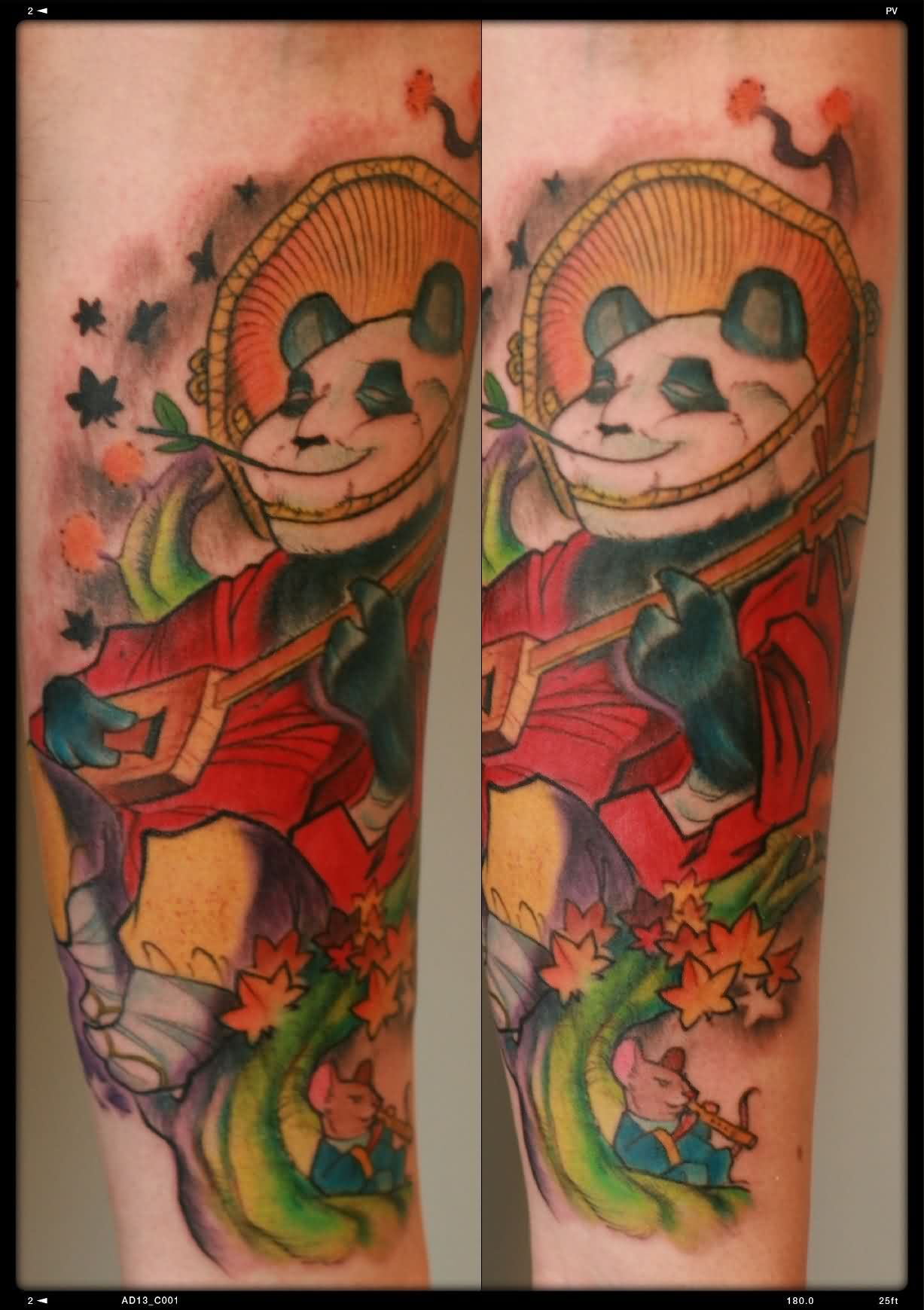 Colorful Panda And Rat Playing Music Tattoos