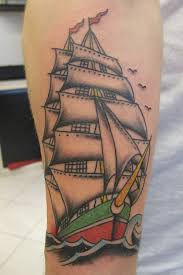 Colorful Pirate Ship And Little Bird Tattoos