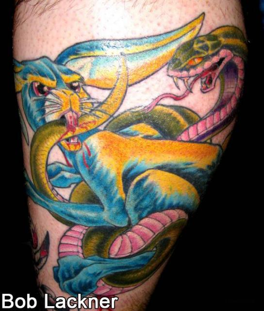 Colorful Rabbit And Snake Fight Tattoo