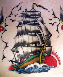 Colorful Sailing Ship And Bird Tattoos