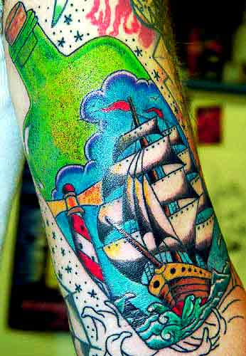 Colorful Ship And Lighthouse In A Bottle Tattoo
