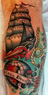 Colorful Ship Globe And Waves Tattoos On Leg