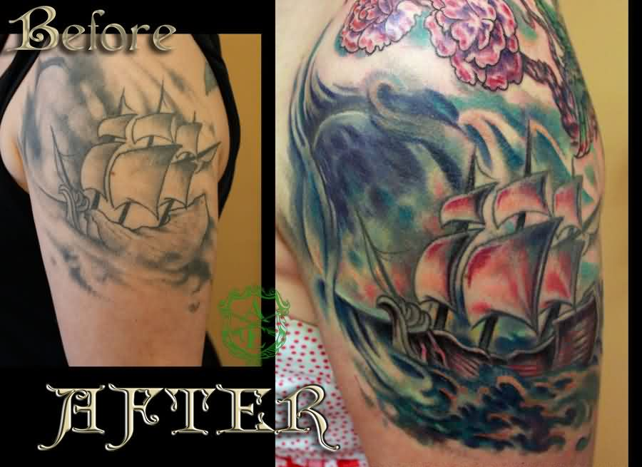Colorful Ship Re Work Tattoo Done