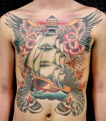 Colorful Ship Roses And Wings Tattoos On Frontside