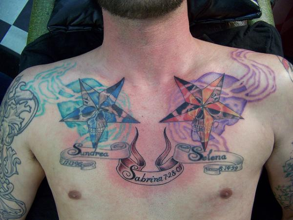 Colorful Skulls Nautical Stars And Kids Names Tattoos On Chest