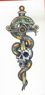 Colorful Snake And Sword Skull Tattoo Design