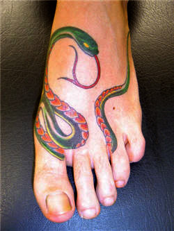 Colorful Snake Around Foot Tattoo