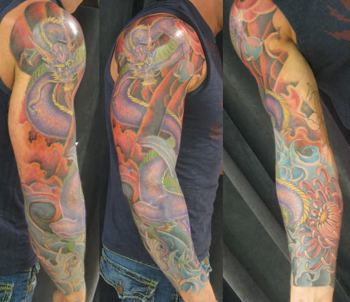 Colorful Snake Flower And Waves Tattoos On Sleeve