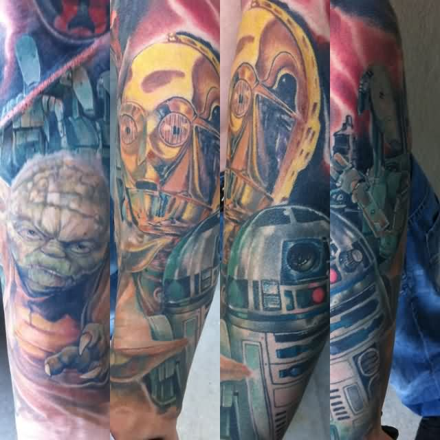 Colorful Star Wars Sleeve Tattoos