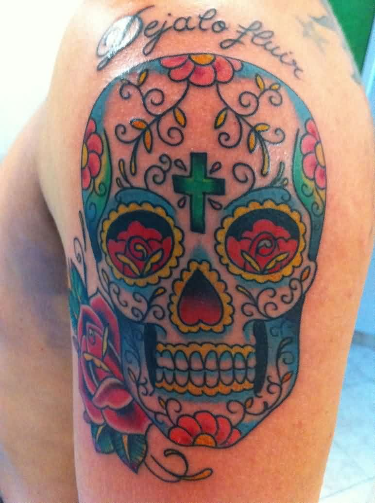 Colorful Sugar Skull And Rose Tattoos On Shoulder