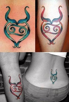 Colorful Taurus Zodiac Symbols Tattoos