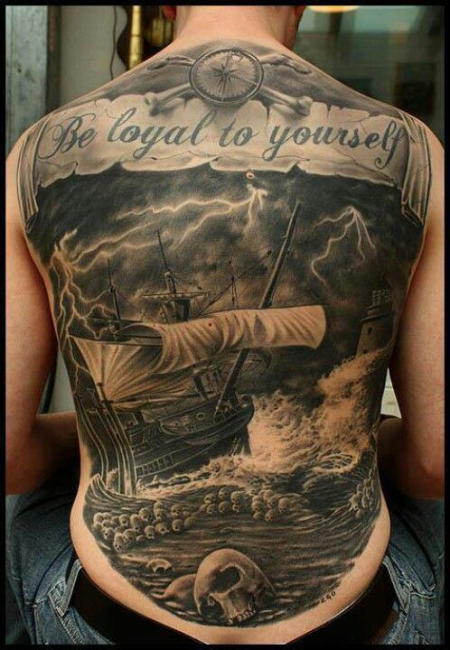 Compass Banner And Ship In Sea Tattoos On Back