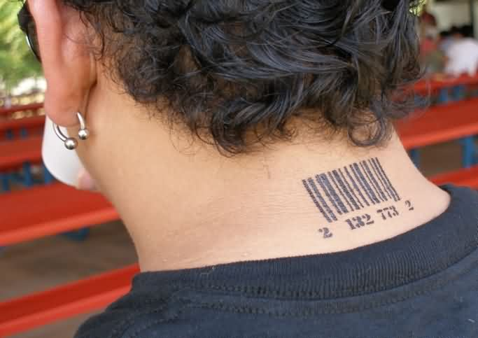 Cool Barcode Neck Tattoo