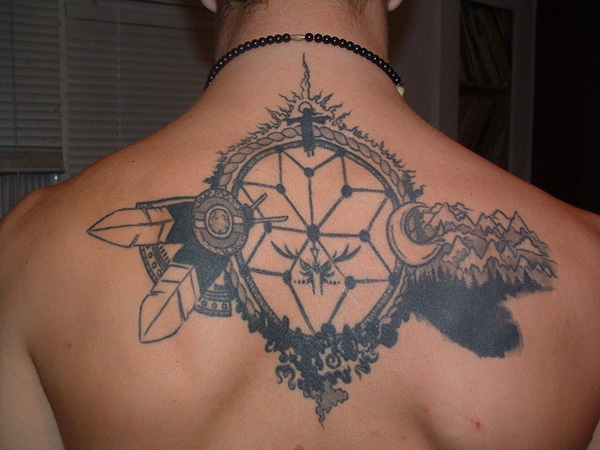 Cool Geometric Moon Tattoo On Upper Back