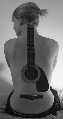Cool Large Music Guitar Tattoo On The Back