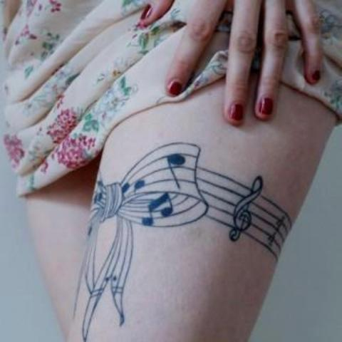 Cool Music Note Band Tattoo On Thigh