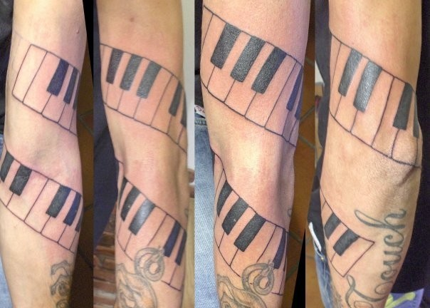 Cool Piano Key Tattoos Around Arm