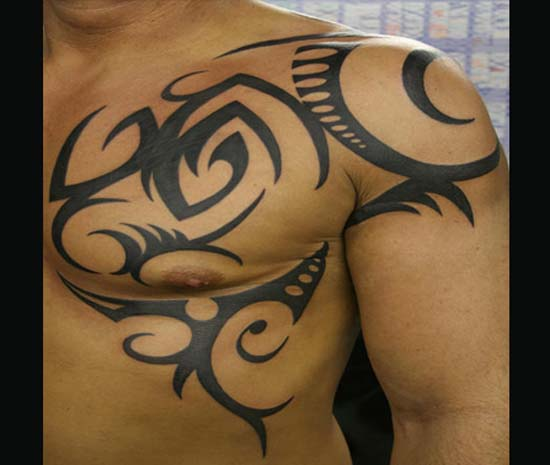 Cool Tribal Shoulder Tattoo For Men