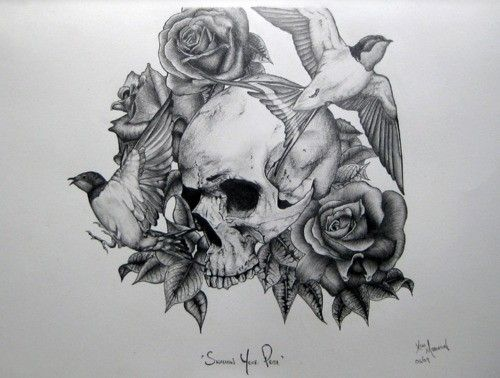 Couple Of Bird Roses And Skull Tattoo Designs