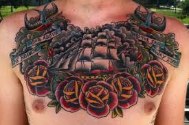Couple Of Birds Ship And Roses Tattoos On Chest