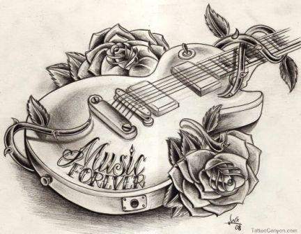 Couple Of Rose And Guitar Tattoos Sketch