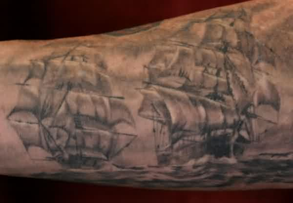 Couple Of Sailing Ship Tattoos