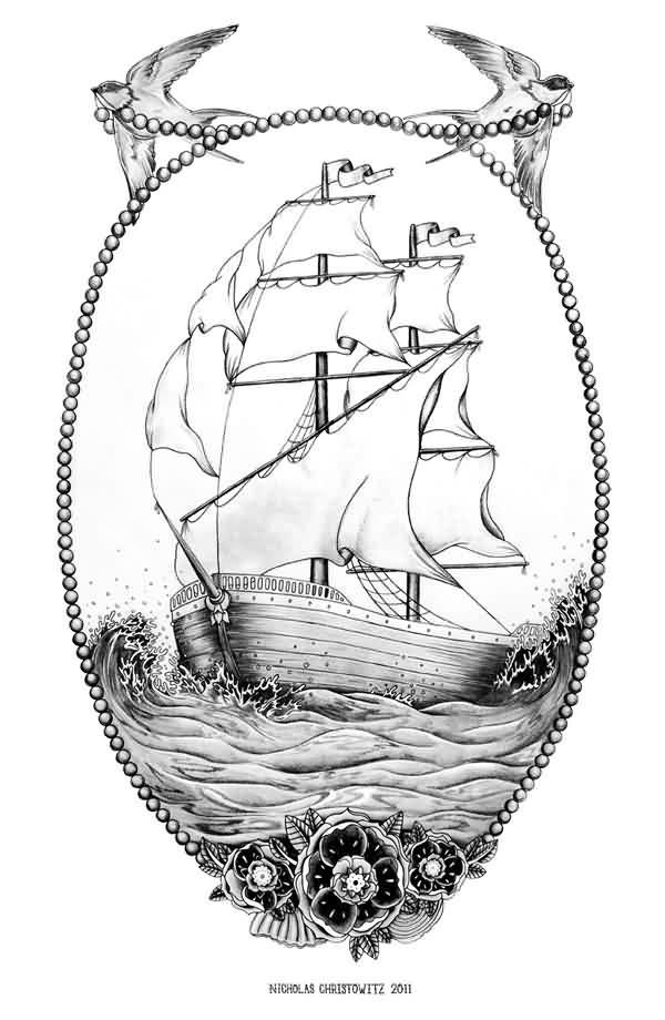 Couple Of Swallows And Ship Tattoo Designs