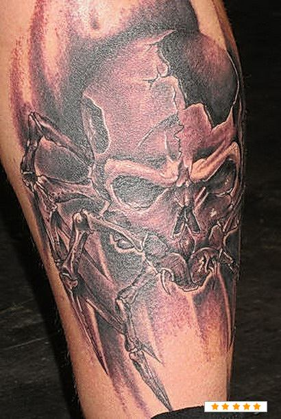 Cracked Skull Spider Tattoo