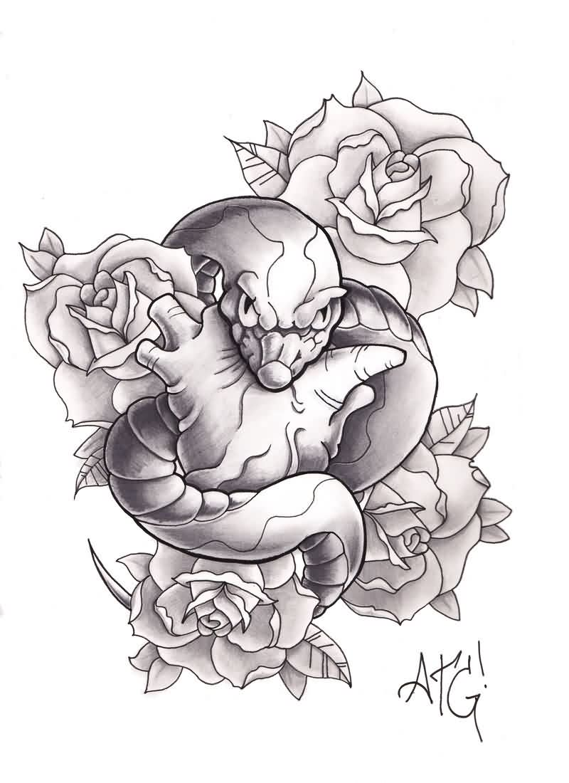Cracked Snake And Roses Tattoo Design