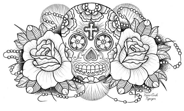 Cross Skull And Roses Tattoo Design