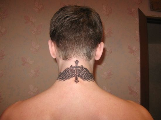 Cross With Angel Wings Back Neck Tatto